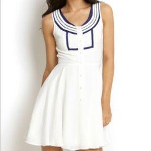 Ark N Co Sailor Dress White Blue Navy A Line Large